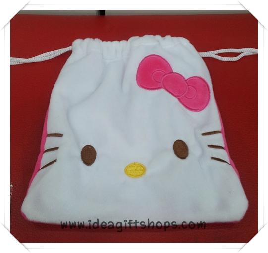 ถุงผ้าหูรูด ลาย Hello Kitty ฮัลโหล คิตตี้ ขนาด 7x8 นิ้ว (ซื้อ 12 ชิ้น ราคาส่งชิ้นละ 100 บาท) คละลายได้