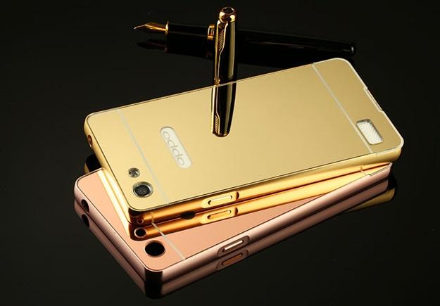 (025-029)เคสมือถือ Case OPPO Mirror 5 lite เคสกรอบโลหะพื้นหลังอะคริลิคเคลือบเงาทองคำ 24K