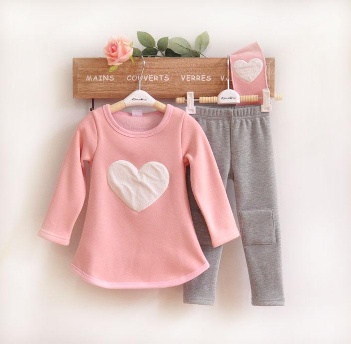 (Pre) ชุดเสื้อหัวใจ+กางเกง +ที่คาดผม สีชมพู (แบบหนา)