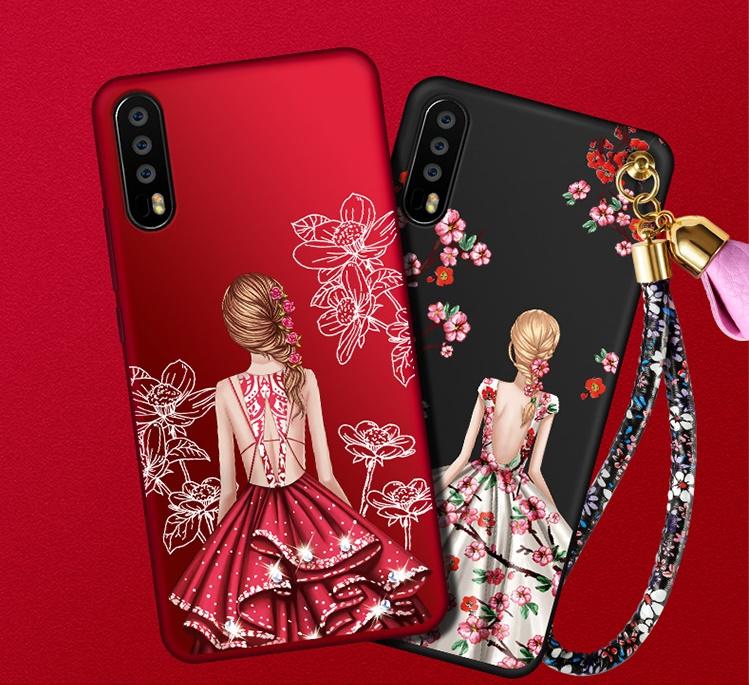 (388-119)เคสโทรศัพท์มือถือหัวเว่ย Case Huawei P20 Pro เคสนิ่มแฟชั่นลายผู้หญิงพร้อมเชือกคล้องมือ