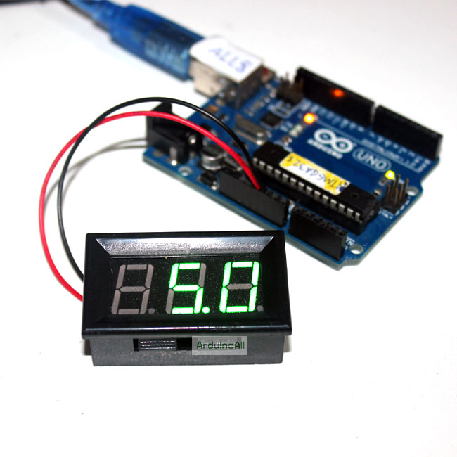 LED Voltage Meter Mini Digital Voltmeter DC 5-28V สีเขียว