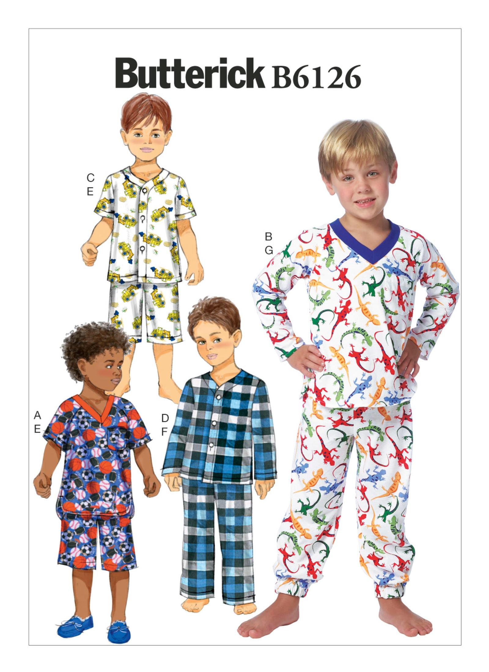 แพทเทิร์นตัดชุดนอน เสื้อมีทั้งแบบสวมหัว แบบกระดุม แขนสั้นแขนยาว กางเกงขาสั้น ขายาว Butterick 6126CD Size: 2-3-4-5 ขวบ