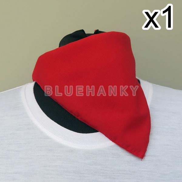 สีแดง สี่เหลี่ยม53ซม ผ้าพันคอกีฬาสี ผ้าเช็ดหน้าผืนใหญ่