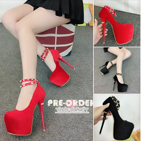 รองเท้าส้นสูงส้นเข็ม ไซต์ 34-39 สีแดง/ดำ