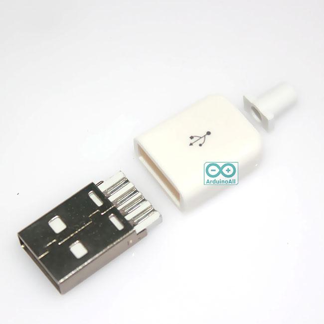 USB Plug male 4p with plastic shell ปลั๊ก หัวต่อ USB ตัวผู้ พร้อมที่คลอบพลาสติก