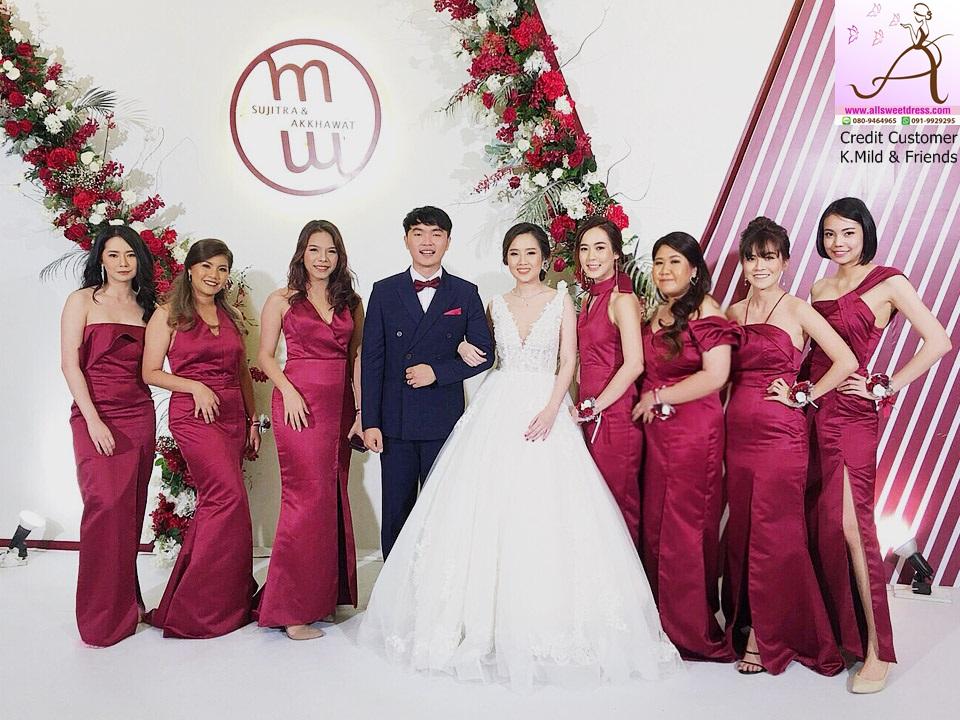 รีวิวชุดเซทเพื่อนเจ้าสาวสีแดงเบอร์กันดี้ แบบยาวที่สั่งตัดเข้ากับบุคลิคของแต่ละคนในงานแต่งงานของน้องมายล์ บางบอน ที่มาใช้บริการตัดเช่าจากร้าน allsweetdress ฝั่งธนค่ะ