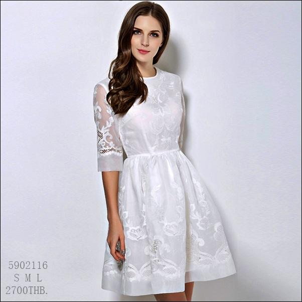 5902116 / S M L / 2016 Lace dress พรีออเดอร์ งานคัตติ้งยุโรป คุณภาพดีสมราคา สวยคอนเฟริ์ม