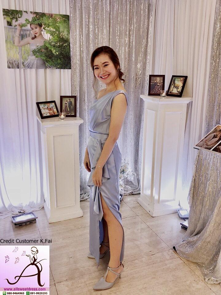 รีวิวชุดงานสั่งตัดเช่าด้วยผ้าซาตินโทนสีฟ้าเทาสวยหรูแบบไหล่เดี่ยวกระโปรงผ่าข้างจากน้องฝ้าย บางบอนที่ใช้บริการเช่าชุดของ allsweetdress ฝั่งธนค่ะ