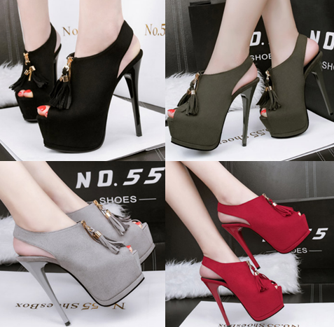 รองเท้าส้นสูง ไซต์ 34-39 สีดำ/แดง/เทา/เขียว