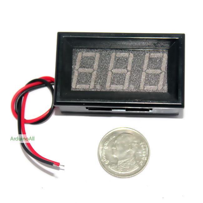 """ดิจิตอลโวลต์มิเตอร์ 5-28 โวลต์ สีส้ม 0.56"""" Digital DC Voltmeter 5-28V Module"""