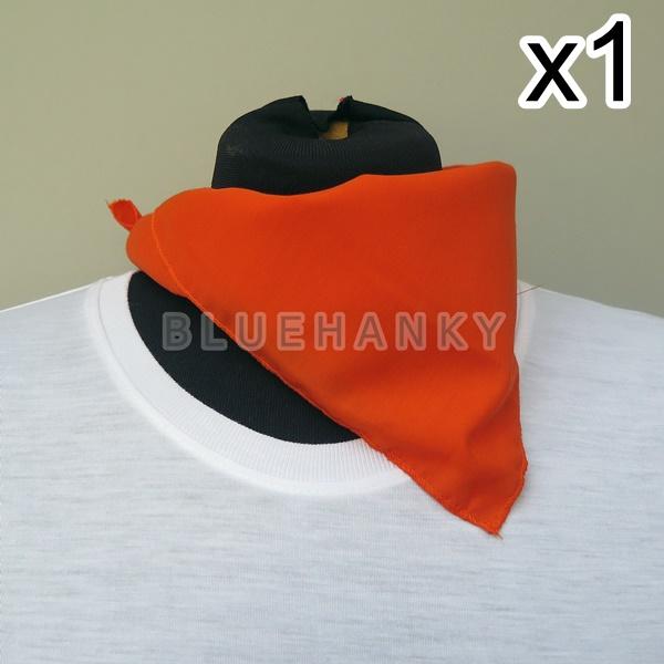 สีส้มเข้ม สี่เหลี่ยม53ซม ผ้าพันคอกีฬาสี ผ้าเช็ดหน้าผืนใหญ่
