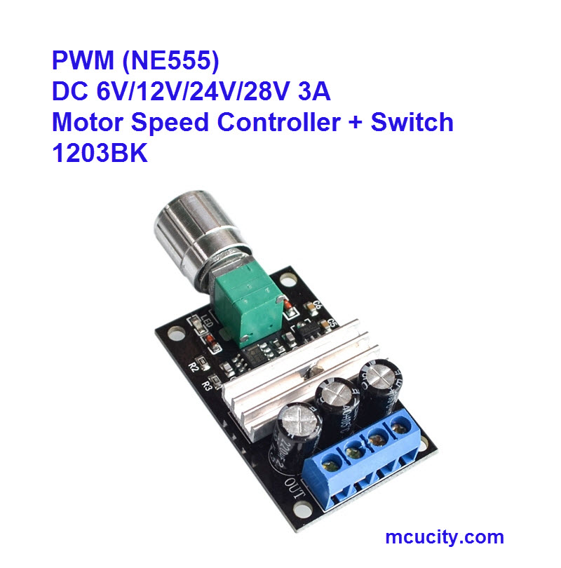 PWM DC 6V 12V 24V 28V 3A Motor Speed Control Switch Controller