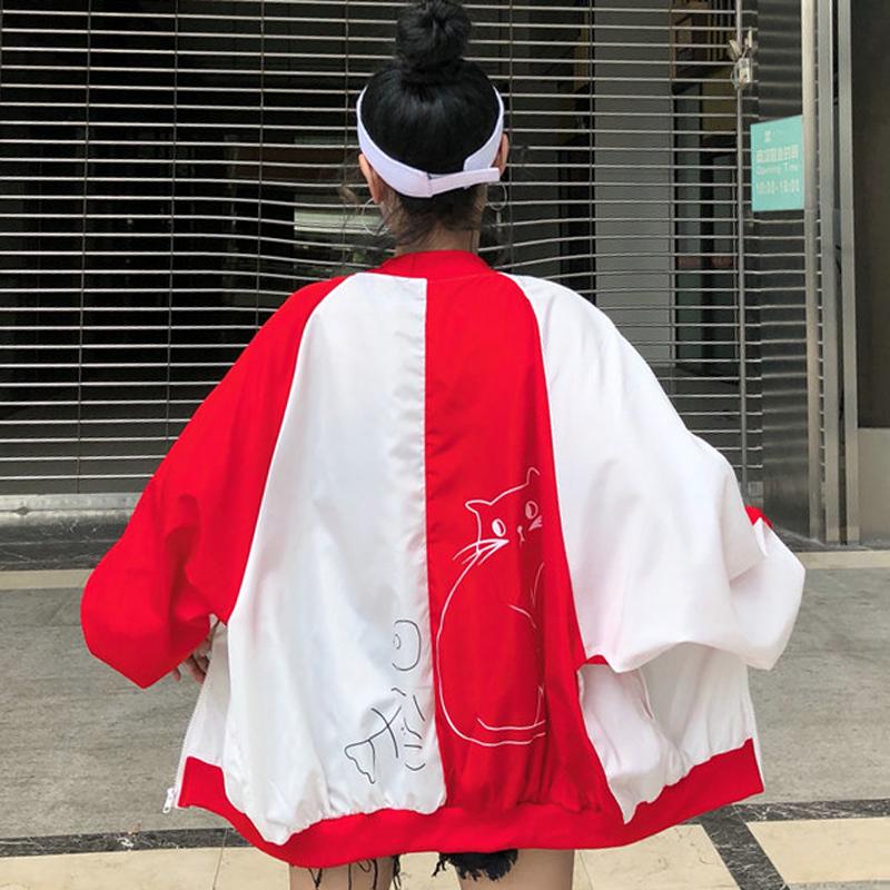 *Pre Order*เสื้อแจ็คเก็ตแฟชั่นผู้หญิง Harajuku style /size M,L,XL สีดำ,แดง