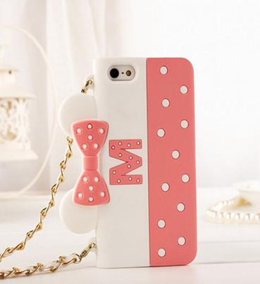 เคสไอโฟน 5/5s/SE ซิลิโคนเคส Minnie Mouse พร้อมสายคล้องคอ