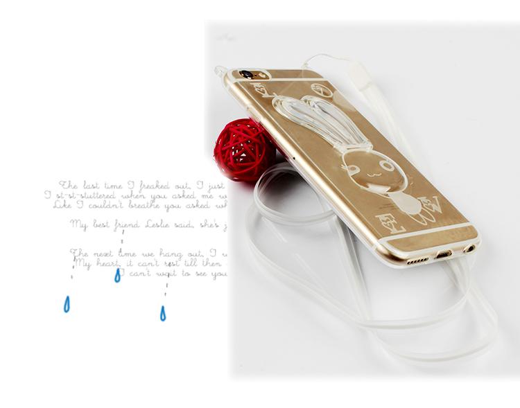 เคสไอโฟน 6 Plus / 6s Plus (เคสนิ่ม TPU) สีขาวใส กระต่ายพร้อมสายคล้องคอ