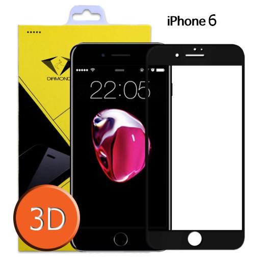 Diamond ฟิล์มกระจกเต็มจอ ฟิล์มกันรอยมือถือ Iphone 6/6s 3D ขอบ Carbon fiber สีดำ ไอโฟน6/6s