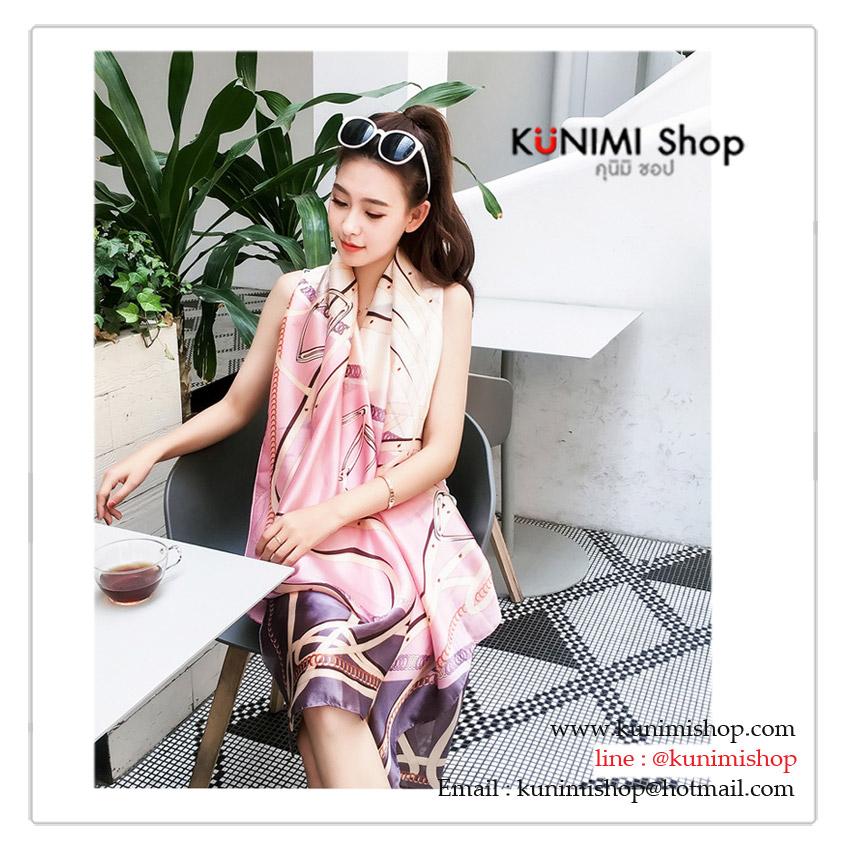 PR162 ผ้าพันคอแฟชั่น ผ้าชีฟอง พิมพ์ลายสวย ขนาด ยาว 180 กว้าง 90 cm.