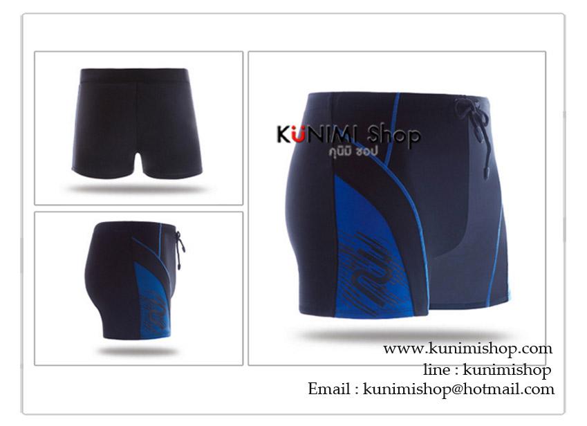 กางเกงขาสั้นว่ายน้ำผุ้ชาย สีดำ ลายสีฟ้า เอวยางยืด มีเชือกผูกเอว ผ้า : ผ้ายืด ไนล่อน + Spandex ขนาด : Size M = ขยายได้ไม่เกิน เอว 30-31 นิ้ว / กางเกงยาว 31 cm. Size L = ขยายได้ไม่เกิน เอว 32-33 นิ้ว / กางเกงยาว 31 cm. Size XL = ขยายได้ไม่เกิน เอว 34-35 นิ้ว / กางเกงยาว 31 cm. Size XXL = ขยายได้ไม่เกิน เอว 36 นิ้ว / กางเกงยาว 32 cm.