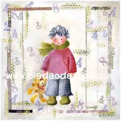 กระดาษสาพิมพ์ลาย rice paper เป็น กระดาษสา สำหรับทำงานฝีมือ เดคูพาจ Decoupage แนวภาพ หนุ่มน้อยน่ารักมาในชุดกันหนาวแนวเกาลี๊เกาหลีในมือหิ้วน้องหมี เท้ดดี้ แบร์ teddy bear มาด้วย (ปลาดาว ดีไซน์)