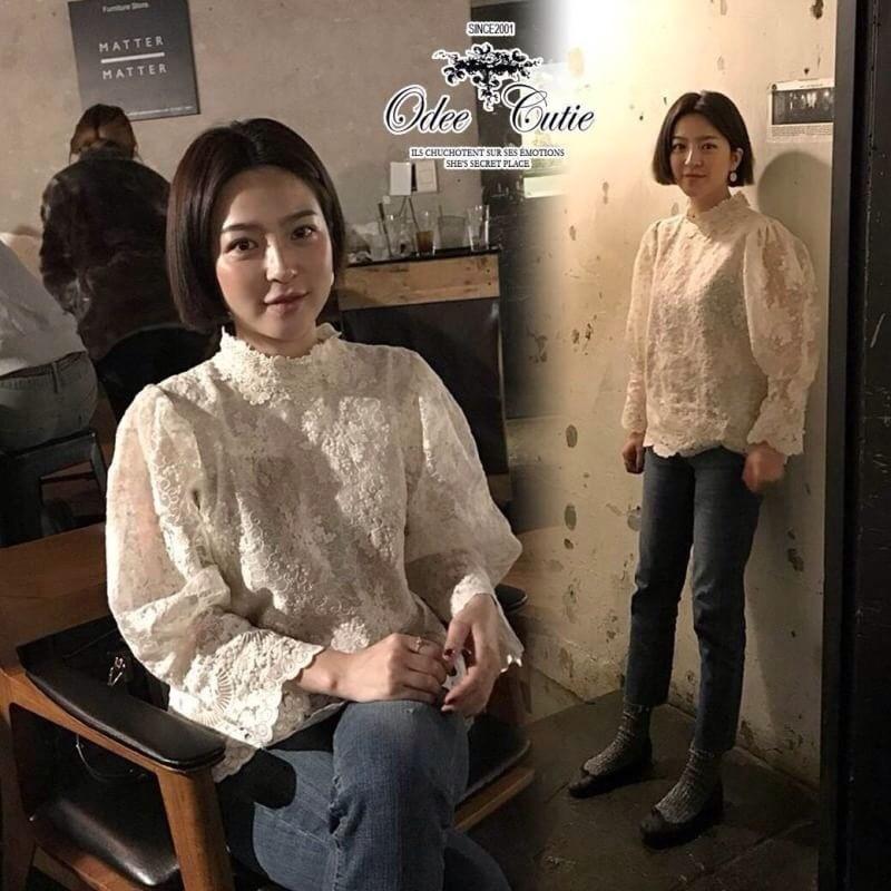 เสื้อเกาหลี ผ้าแก้ว ทรงแขนพอง พร้อมส่ง