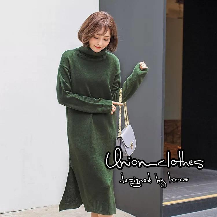 ชุดเดรสเกาหลี พร้อมส่ง Dressไหมพรมผ้าร่องหนา