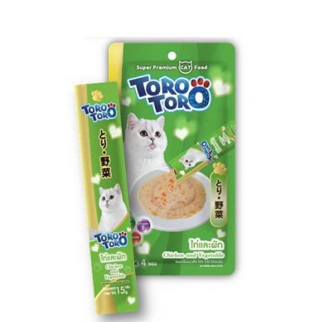 TORO แมวเลีย ไก่ผัก 15gx4 เขียว