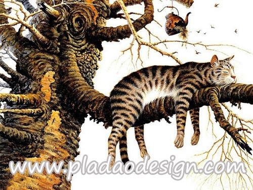 กระดาษสาพิมพ์ลาย สำหรับทำงาน เดคูพาจ Decoupage แนวภาำพ เจ้าแมวตัวดีซนเป็นที่หนึ่ง ปีนขึ้นไปนอนห้อยแขนห้อยขาบนกิ่งไม้