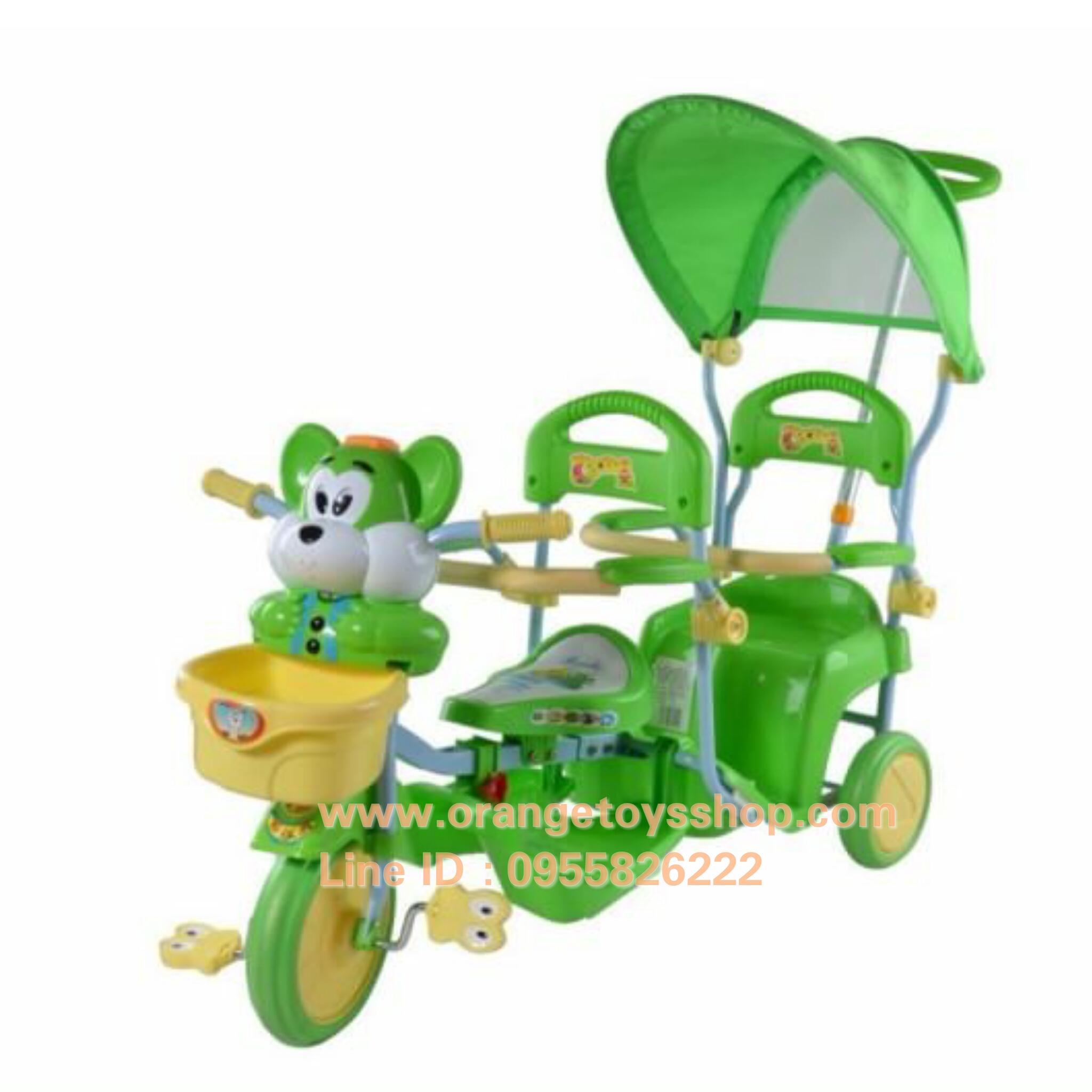 รถสามล้อเด็ก แบบนั่งสองคน เข็นได้ *** สีเขียว*** สามล้อสองที่นั่ง จักรยานสองที่นั่ง