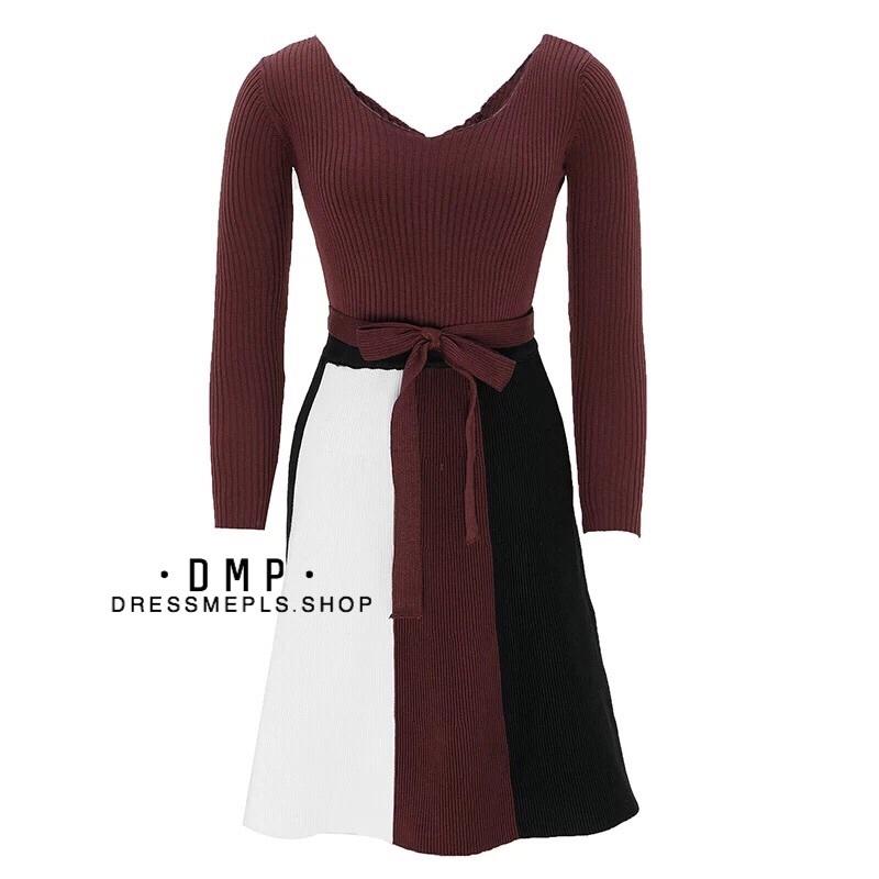 เสื้อผ้าเกาหลี พร้อมส่ง เสื้อกับกระโปรงสลับสี