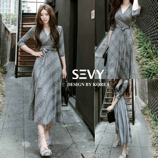 Maxi dress ชุดเดรสเกาหลี ทรงผูกป้าย พร้อมส่ง