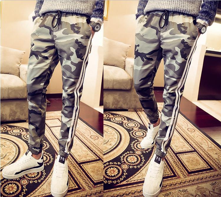 กางเกงขายาวแฟชั่น ทรงJOGGER ลายพรางโทนเทา-กากี รุ่น LP0014