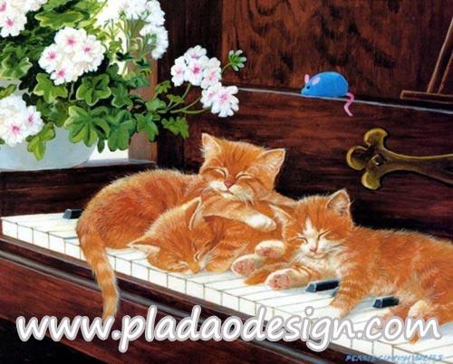 กระดาษสาพิมพ์ลาย สำหรับทำงาน เดคูพาจ Decoupage แนวภาำพ ลูกแมวตัวน้อยๆขนสีทอง นอนขดซุกกันบนคีย์ของเปียโน