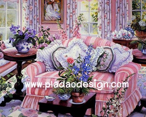 กระดาษอาร์ตพิมพ์ลาย art paper สำหรับทำงาน handmade เดคูพาจ Decoupage แนวภาพ ตกแต่ง บ้านและสวน เก้าอี้นวมตัวใหญ่สีชมพูลายทาง กะม่านลายดอกไม้ สวยหวานเข้ากั๊นเข้ากัน pladao design