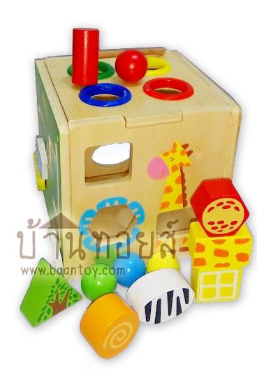 ของเล่นไม้ กล่องกิจกรรมหยอดบล็อค 5 ด้าน เสริมพัฒนาการทางด้านการหยิบจับ การ เคลื่อนไหว การมองมองเห็น สวยงาม น่ารัก ดึงดูดความสนใจเด็กๆ
