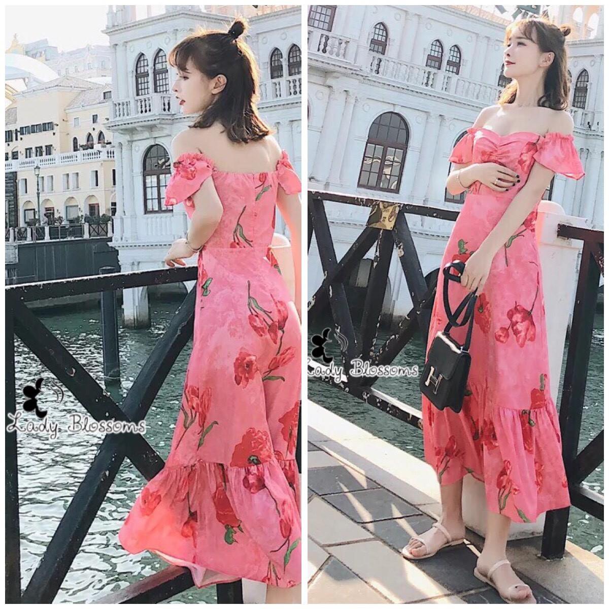 ชุดเดรสเกาหลี พร้อมส่ง Maxi Dress เดรสยาว ลายดอกไม้สีชมพู