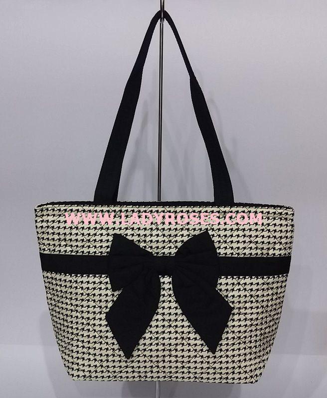 กระเป๋าสะพาย นารายา ผ้าคอตตอน ลายชิโนริ ผูโบว์ด้านหน้า มีซิปด้านหลัง (กระเป๋านารายา กระเป๋าผ้า NaRaYa กระเป๋าแฟชั่น)