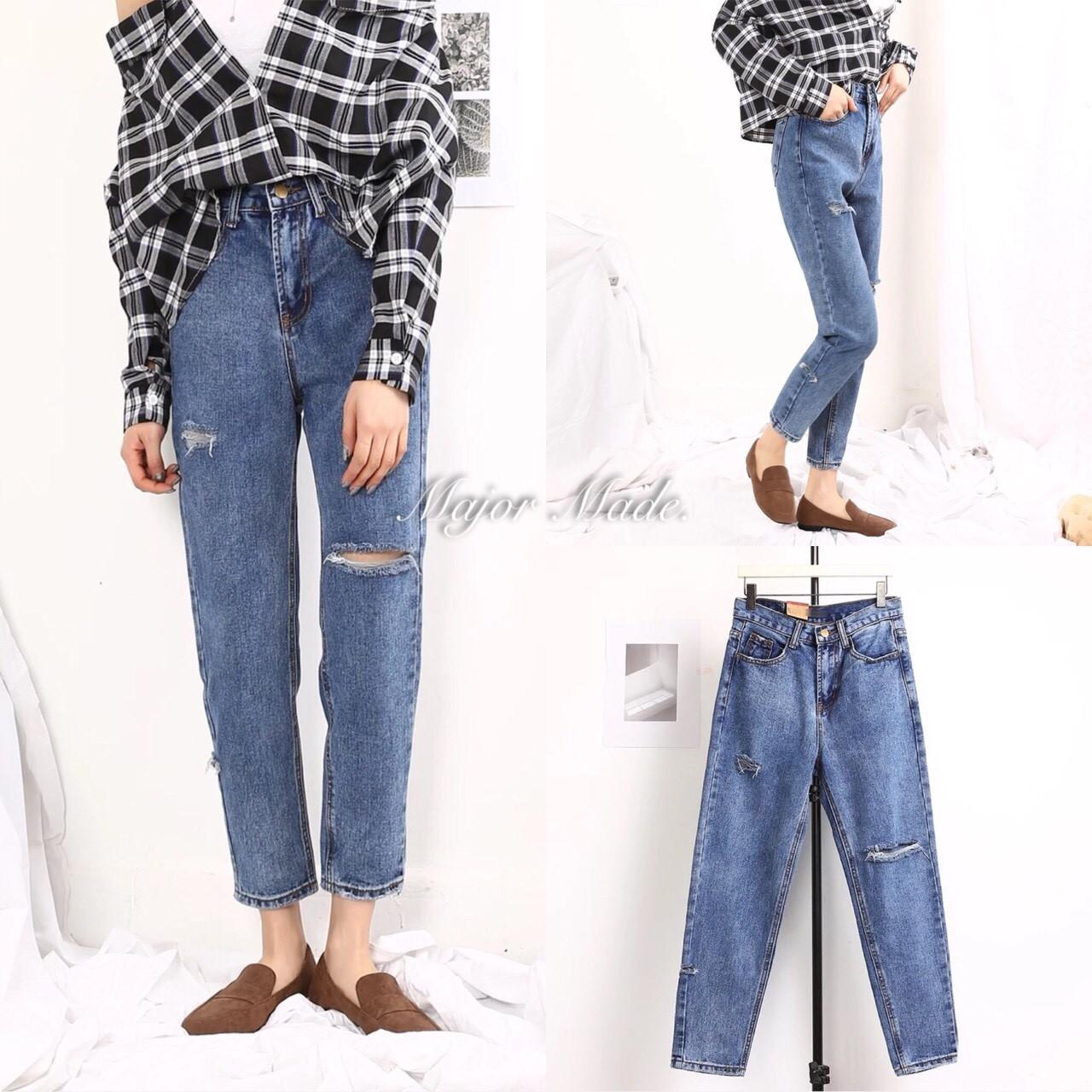 กางเกงแฟชั่น เกงยีนส์บอยทรงกระบอก เอวสูง สไตล์เกร๋