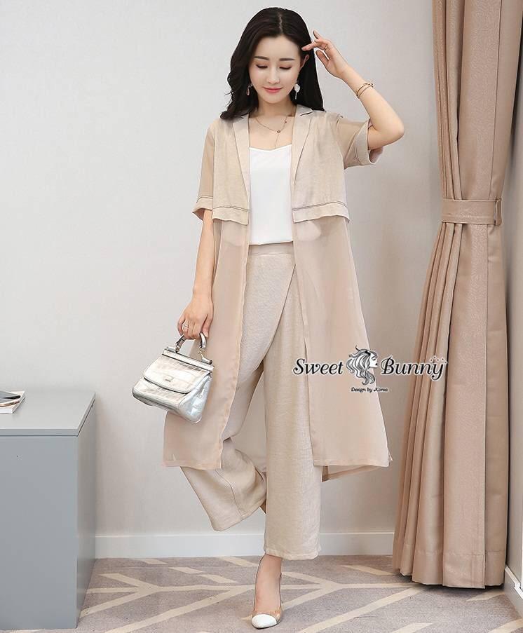 ชุดเซทแฟชั่น ชุดเซ็ทเกาหลี 3 ชิ้น เสื้อตัวใน+เสื้อคลุมยาว+กางเกง เนื้อผ้าดี