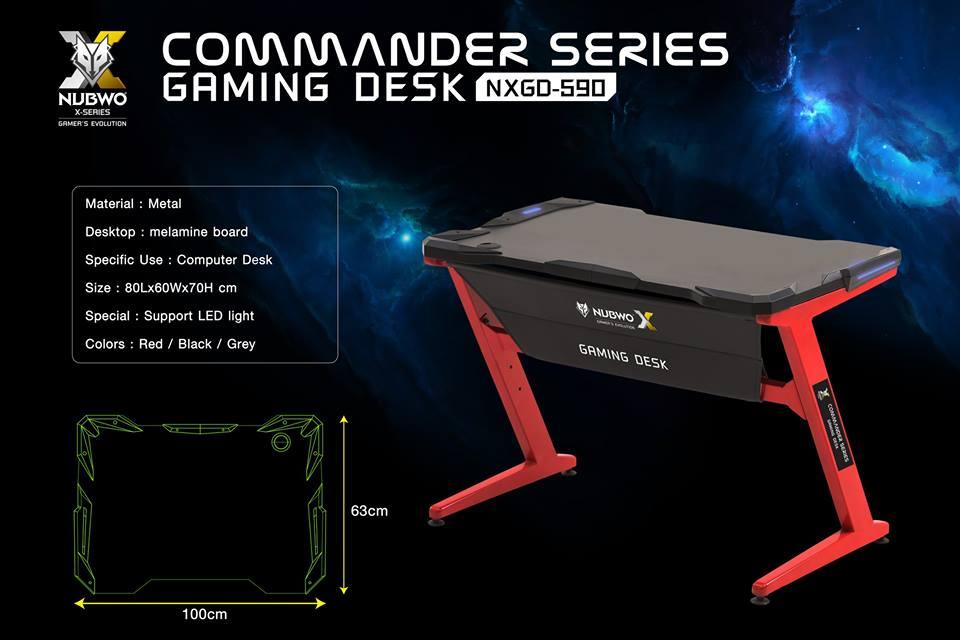 NUBWO X-Series Commander Gaming Desk พร้อมของแถมไฟ LED RGB 1M พร้อมรีโมทเปลี่ยนไฟ