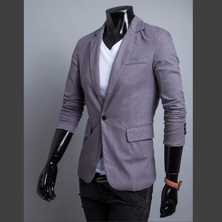 Pre-Order เสื้อสูท สูทลำลอง สูทบาง สูทเบลเซอร์ลำลอง แขนยาว ผ้าฝ้ายผสม สีเทาเข้ม