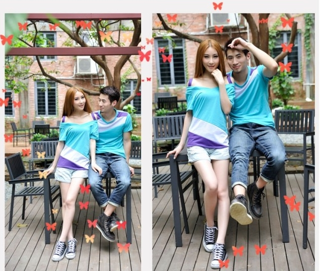 เสื้อคู่รัก ชายหญิง สีฟ้าตัดต่อเทาม่วง Korean version couple shirt personality