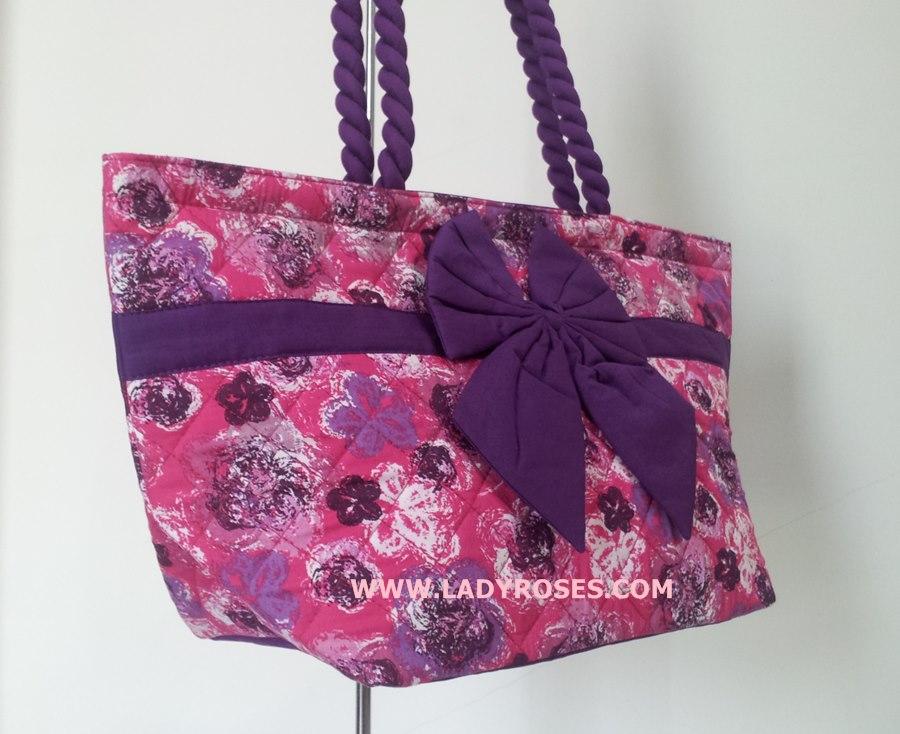 กระเป๋าสะพาย นารายา Size L ผ้าคอตตอน สีชมพู ลายดอกไม้ ผูกโบว์ สายหิ้ว หูเกลียว (กระเป๋านารายา กระเป๋าผ้า NaRaYa กระเป๋าแฟชั่น)