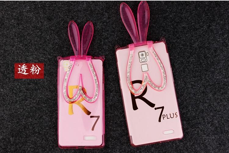 เคส OPPO R7 Lite- เคสซิลิโคนกระต่าย ติดเพชร [Pre-Order]