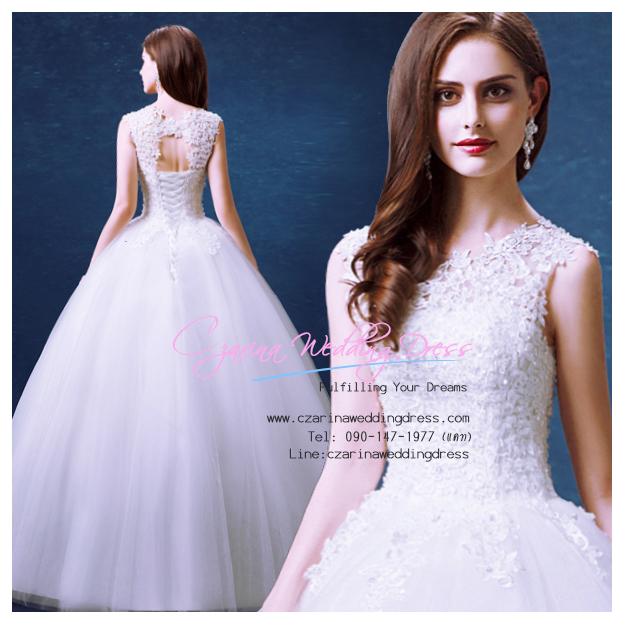 wm5088 ขาย ชุดแต่งงานแขนกุด ลูกไม้ซีทรู เว้าหลัง สวย เก๋ ดูดีแบบเจ้าหญิง ราคาถูกกว่าเช่า