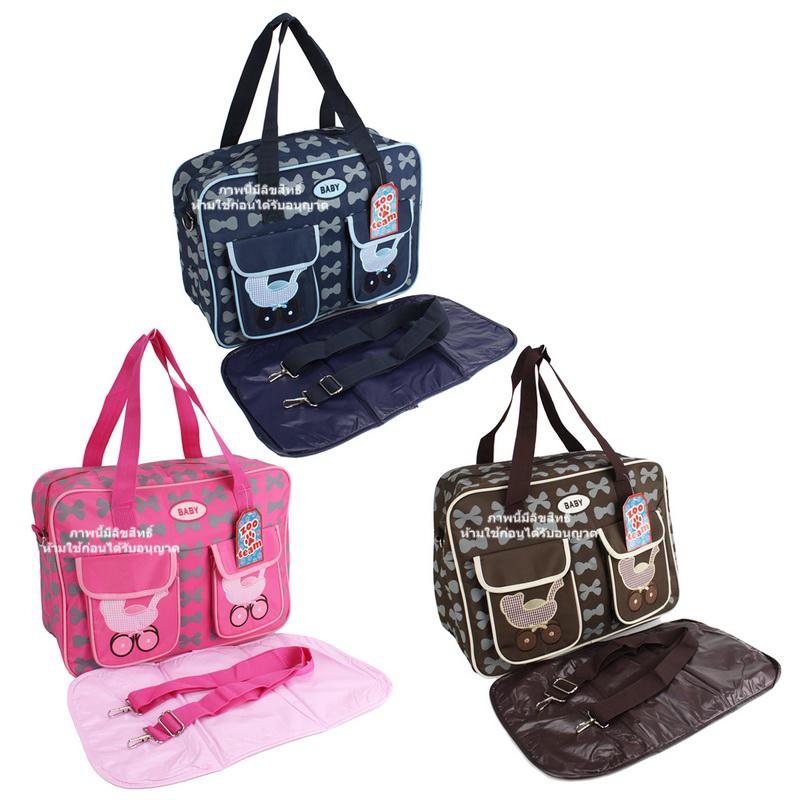 กระเป๋าสัมภาระคุณแม่ลายรถเข็น (ขนาด17x41x30cm)