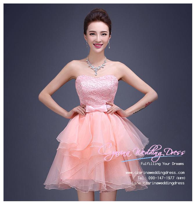 Z-0221 ชุดไปงานแต่งงานน่ารัก แนววินเทจหวานๆ สวย งามสง่า ราคาถูก ผ้าลูกไม้ สีชมพู เกาะอก
