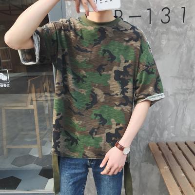 เสื้อยืดแขนสั้นเกาหลี สีเขียวลายพรางทหาร ทรงหลวม