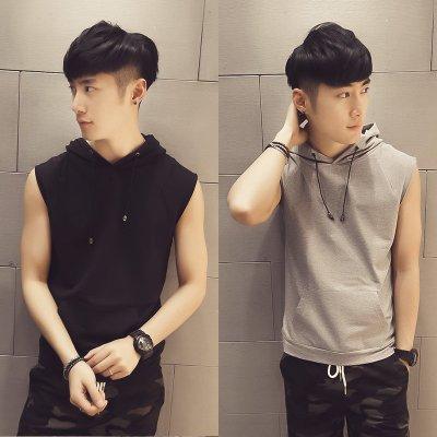 Pre Order เสื้อผู้ชายแขนกุดสไตล์เกาหลี มีHOOD ดีไซน์ทันสมัย มี2สี
