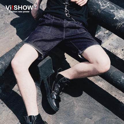 กางเกงยีนส์ขาสั้นเกาหลี แนวยุโรป แต่งขอบสวย กระเป๋าด้านหลัง มี2สี