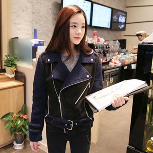 ++สินค้าพร้อมส่งค่ะ++ เสื้อแฟชั่น Jacket เกาหลี แขนยาว คอปก ผ้า organic skin + lamb wool เนื้อดีมาก มีเข็มขัดรัดช่วงเอวดีไซด์เท่ห์ – สี ดำ